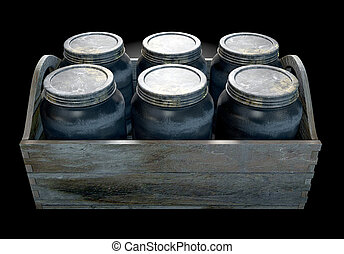 Whiskey Jars In A Crate - A 3D render of a collection of...