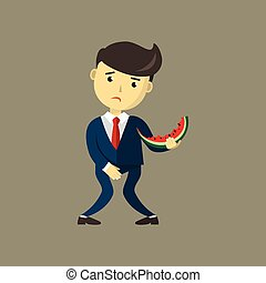 Man eating Watermelon. He wants to pee and is holding his bladder. Guy needing to urinate by covering his crotch hand, must holding a toilet. Incontinence concept. Flat cartoon vector illustration