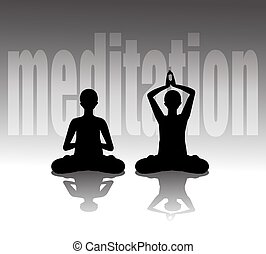 meditating - Vector illustration of silhouette practicing...