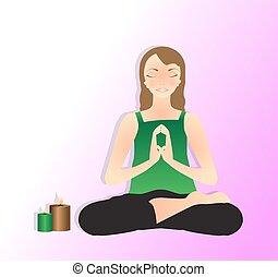 meditating - Vector illustration of beautiful young woman...