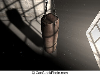 Vintage Leather Punching Bag - A 3D render of an old worn...