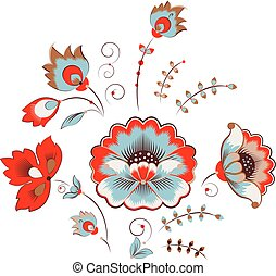 Russian peony ornament - Floral Peony Pattern in Russian...