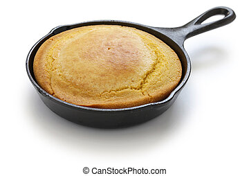 homemade cornbread in skillet, southern cooking - homemade...