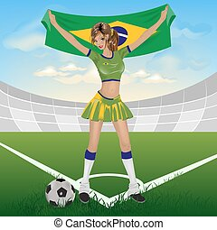 Brazil girl soccer fan Illustration in vector format EPS