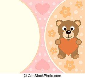 divertido, Plano de fondo, tarjeta, oso