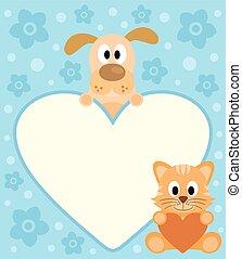 Background with cartoon dog ,dog