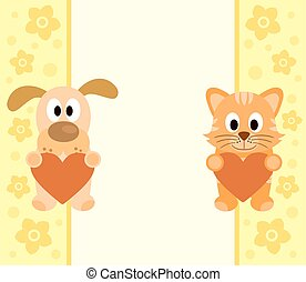 Background with cartoon dog ,cat