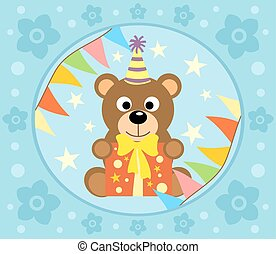 Cartoon  background  with bear