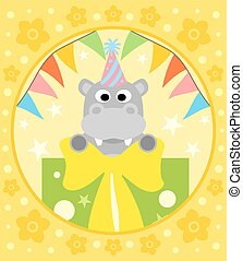 Cartoon  background  with hippo