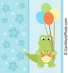 Background card with crocodile
