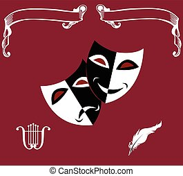 Theatrical icons - Theatre icons: masks,...