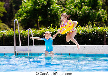 Family Jumping Pool Stock Photo Images 577 Family Jumping Pool Royalty Free Images And