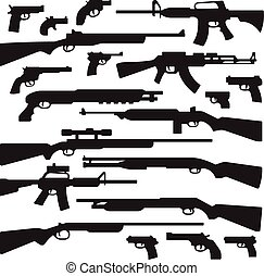 Guns, rifles, shotguns, handguns, assault rifles, and other...