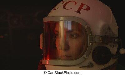 Soviet Woman Cosmonaut - Portrait of a russoan astronaut...