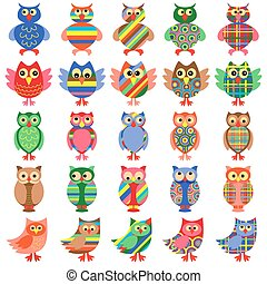 Twenty five amusing colorful owls - Set of twenty five...