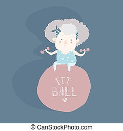 Elderly woman doing fitness with fitball Vector illustration...