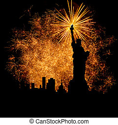Salute - Silhouette statue of liberty on firework background...