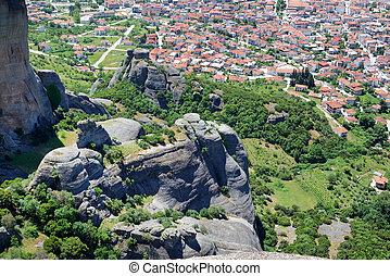 The view on Kalampaka town and Meteora, Greece