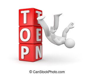 Man falls from the top. 3d illustration