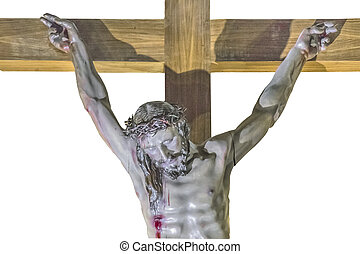 Isolated Jesus on the Cross Sculpture
