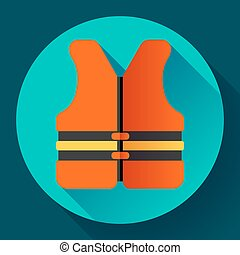 life safety jacket vest icon flat 20 vector safety in water...