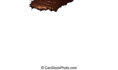 chocolate pouring on white background
