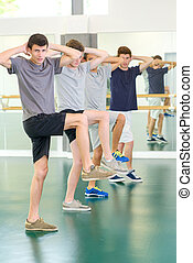 Young men exercising