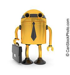 Gold robot businessman