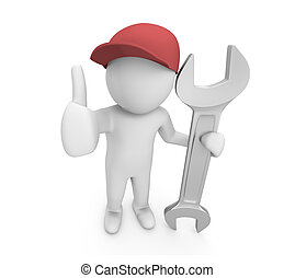 service - Mechanic pose with big wrench ,service man , 3d...