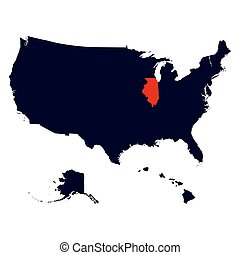Illinois State in the United States map vector