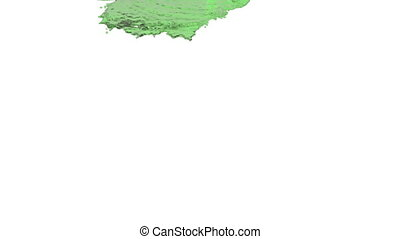 green liquid pouring on white background - close-up view of...