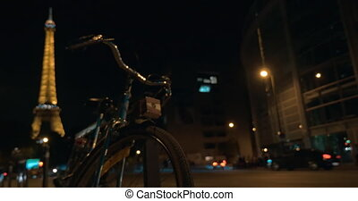 Street in Paris at night - Logos blurred Night in Paris Cars...