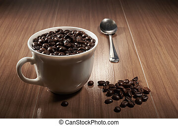 cup, coffee, spoon on a table