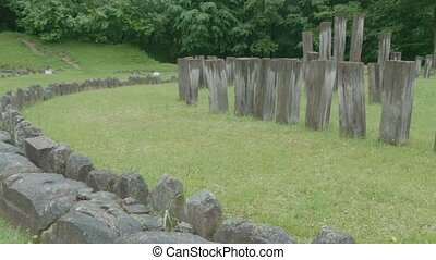 Sarmisegetusa Regia Temple Ruins - Pan shot to the main...