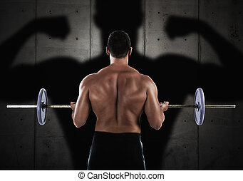 Workout with barbell - Back of muscular man training with a...