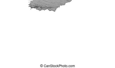 grey liquid pouring on white background - close-up view of...