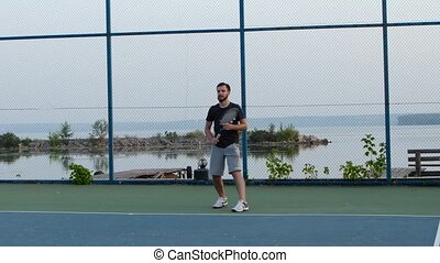 Professional tennis player hitting the ball with precision,...