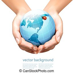 Hands holding a blue earth with a ladybug.  Vector illustration.