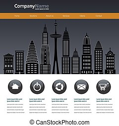 City web site design template with space for text