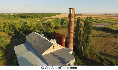 Aerial view of a blast furnace or an old boiler house at...