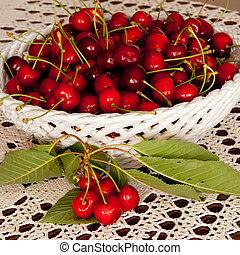 Basket full of cherry fruits