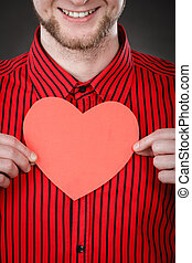 Boy in love with red heart - Love and help from people...