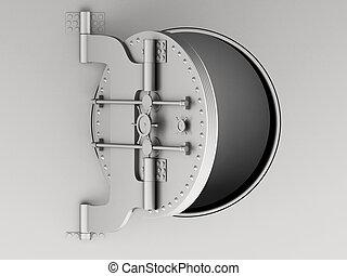 3d Metallic bank vault door open.