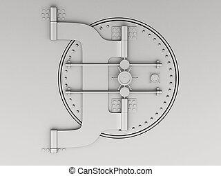 3d Metallic bank vault with closed door.