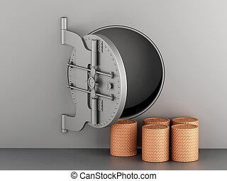 3d Metallic bank vault with door open and coins.