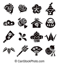 New year element icon set, Black on white background
