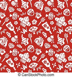 Japanese new year seamless pattern on red background