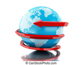 3d Globe with red arrow circle around.