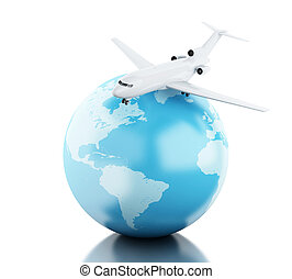 3D Globe and airplane - 3D Illustration. Airplane flying...
