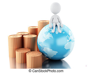 3d White people on top of globe with coins.